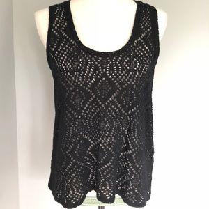 Express One Eleven mesh sleeveless top- black